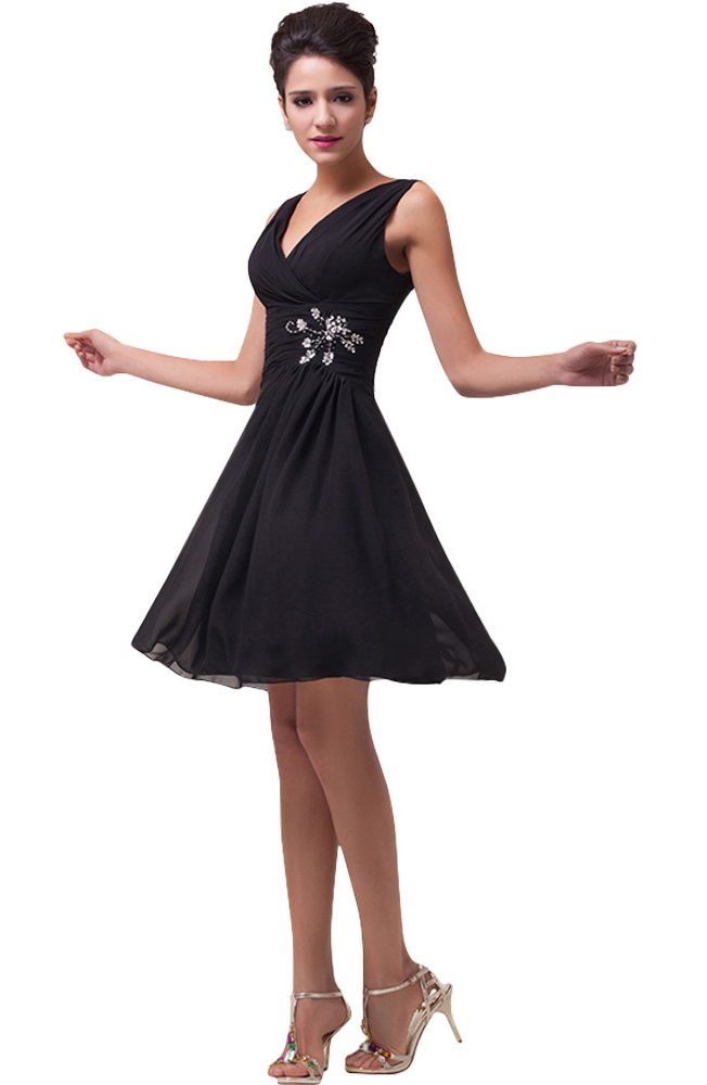 Megan Black Chiffon Cocktail Dress Vintage Clothing