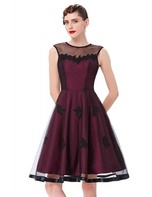 Sally wine retro taffeta dress