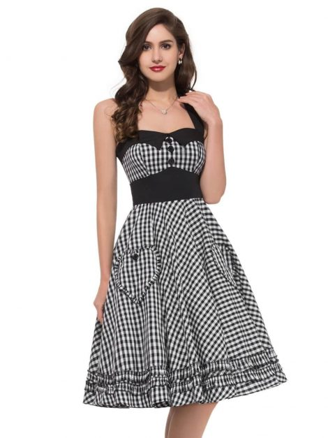 Black gingham 50s pin up dress-detail