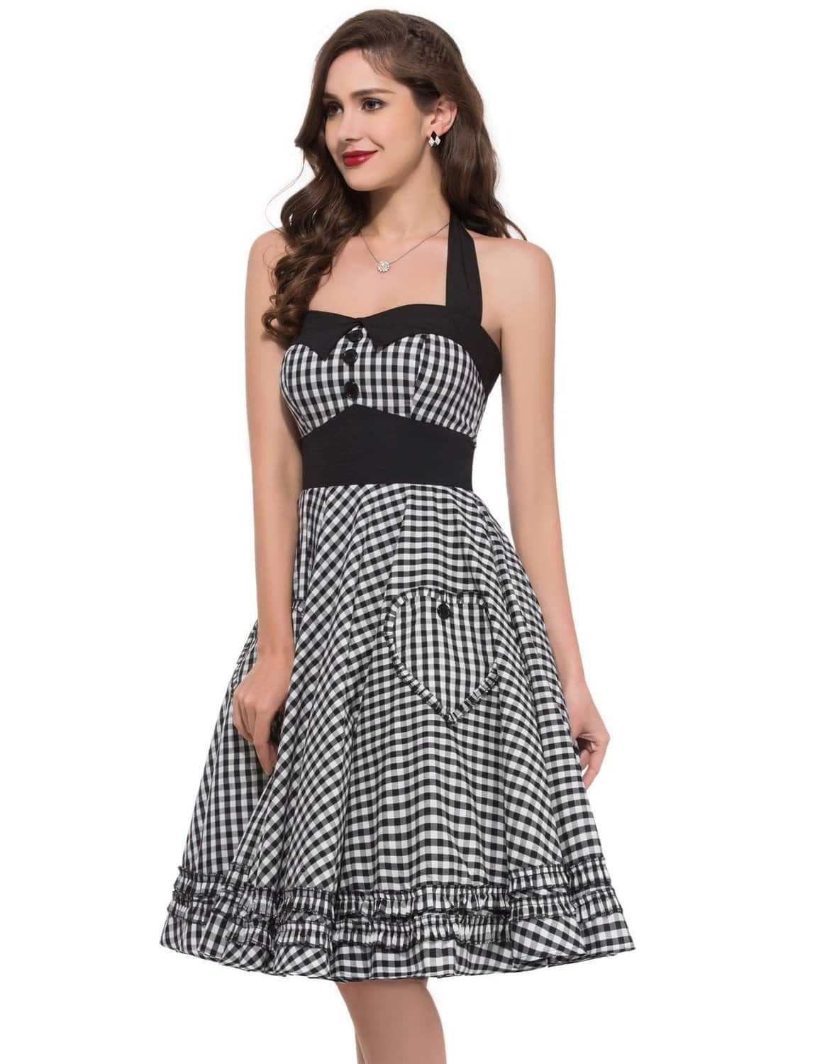 Black gingham 50s pin up dress