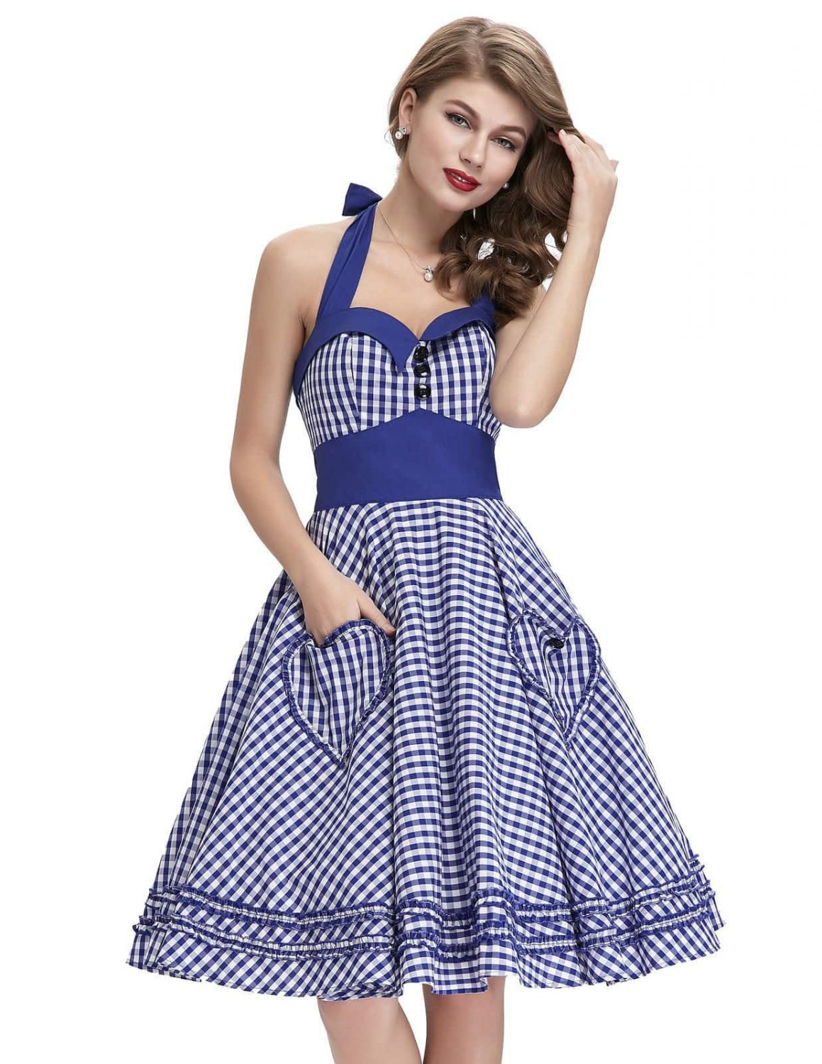Blue gingham 50s pin up dress