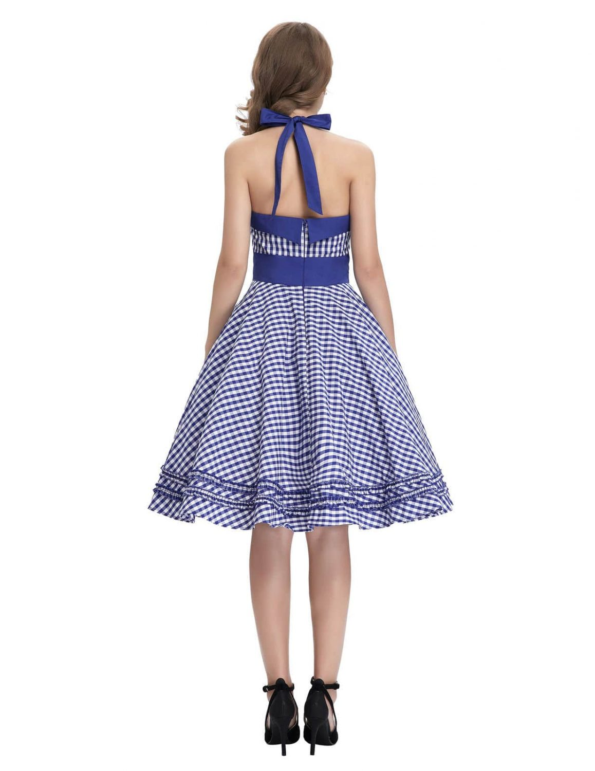 Blue Gingham Halter Pin Up Dress