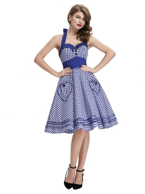 Blue gingham 50s pin up dress - full front