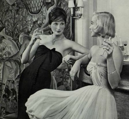 1950s women in evening dress
