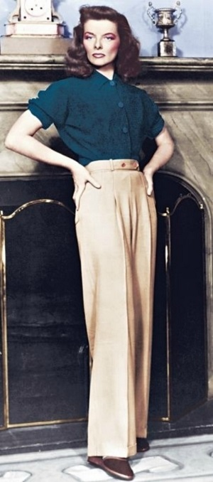 Katharine Hepburn in slacks 1940s sized
