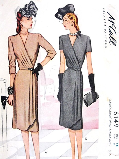 McCalls patterns for wraparound dresses, 1940s