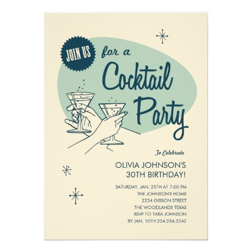 Vintage style cocktail party invitation