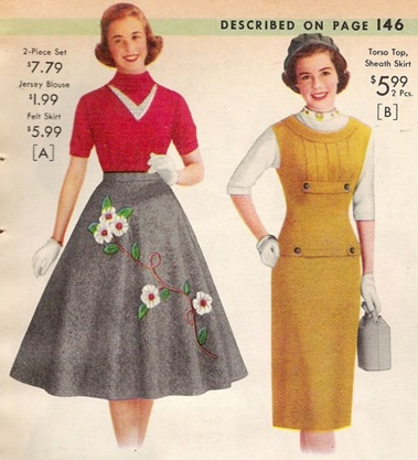 1950s circle skirt and sheath dress