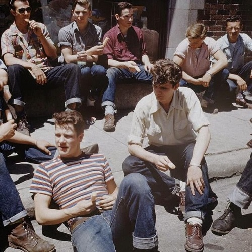 Greaser guys in 1950s