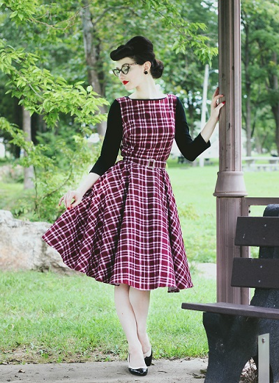 Audrey Vintage Style Red Tartan Swing Dress