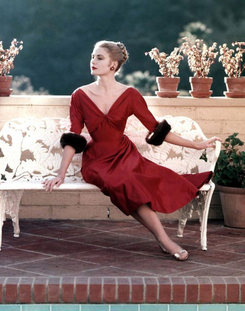 Grace Kelly in red dress 1955 by Howell Conant API Getty Images