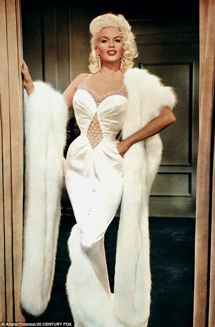 Jayne Mansfield in a wiggle dress 1950s