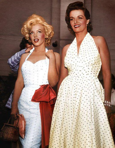 Marilyn Monroe and Jane Russell in polka dot dresses 1953