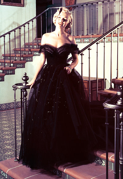 Marilyn Monroe in black tulle dress 1951 oscars