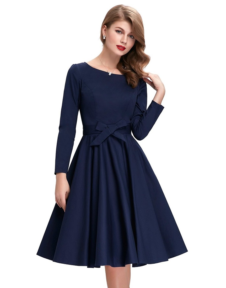 Greta Navy Blue Vintage Dress | 1950sGlam
