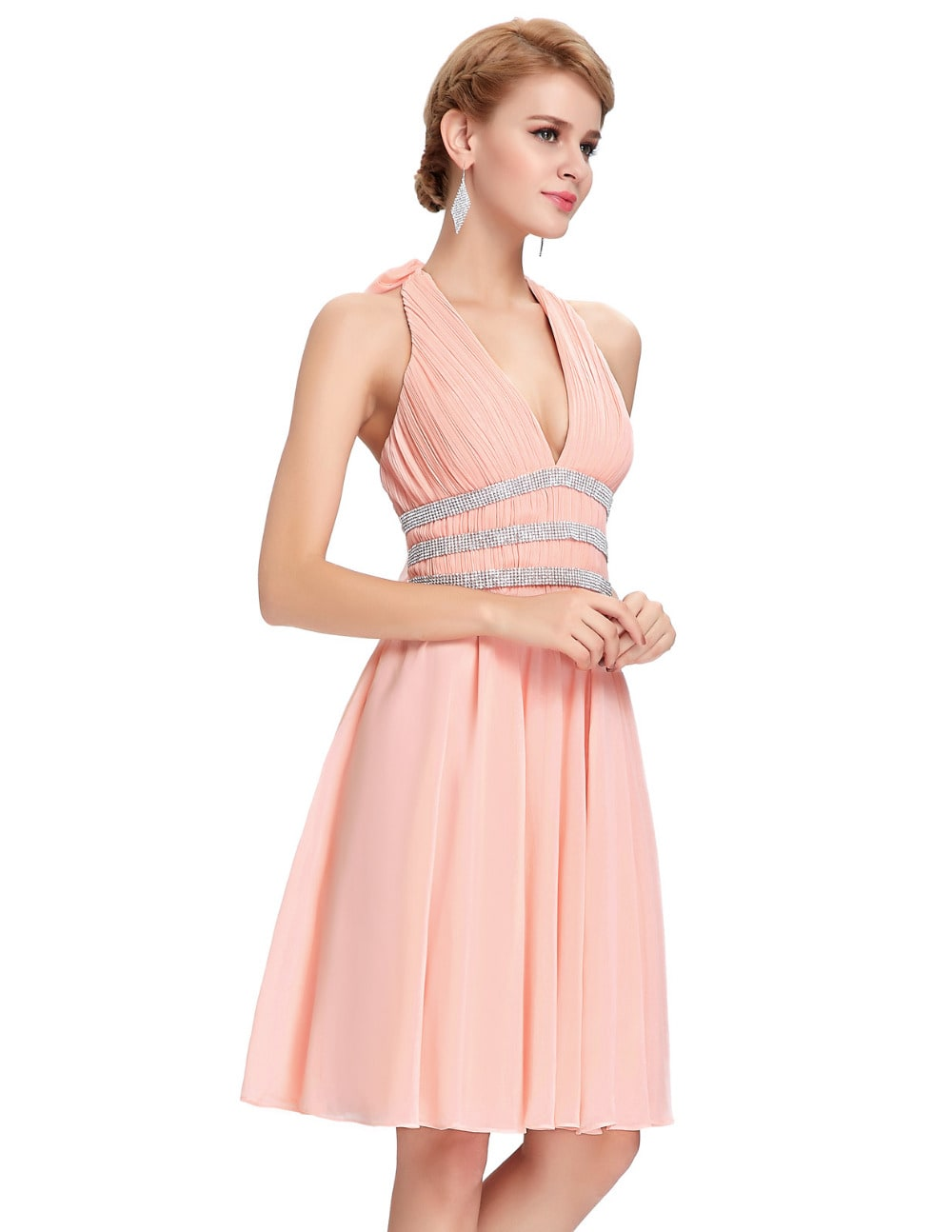 Peach Chiffon Halter Pin Up Dress Vintage Clothing