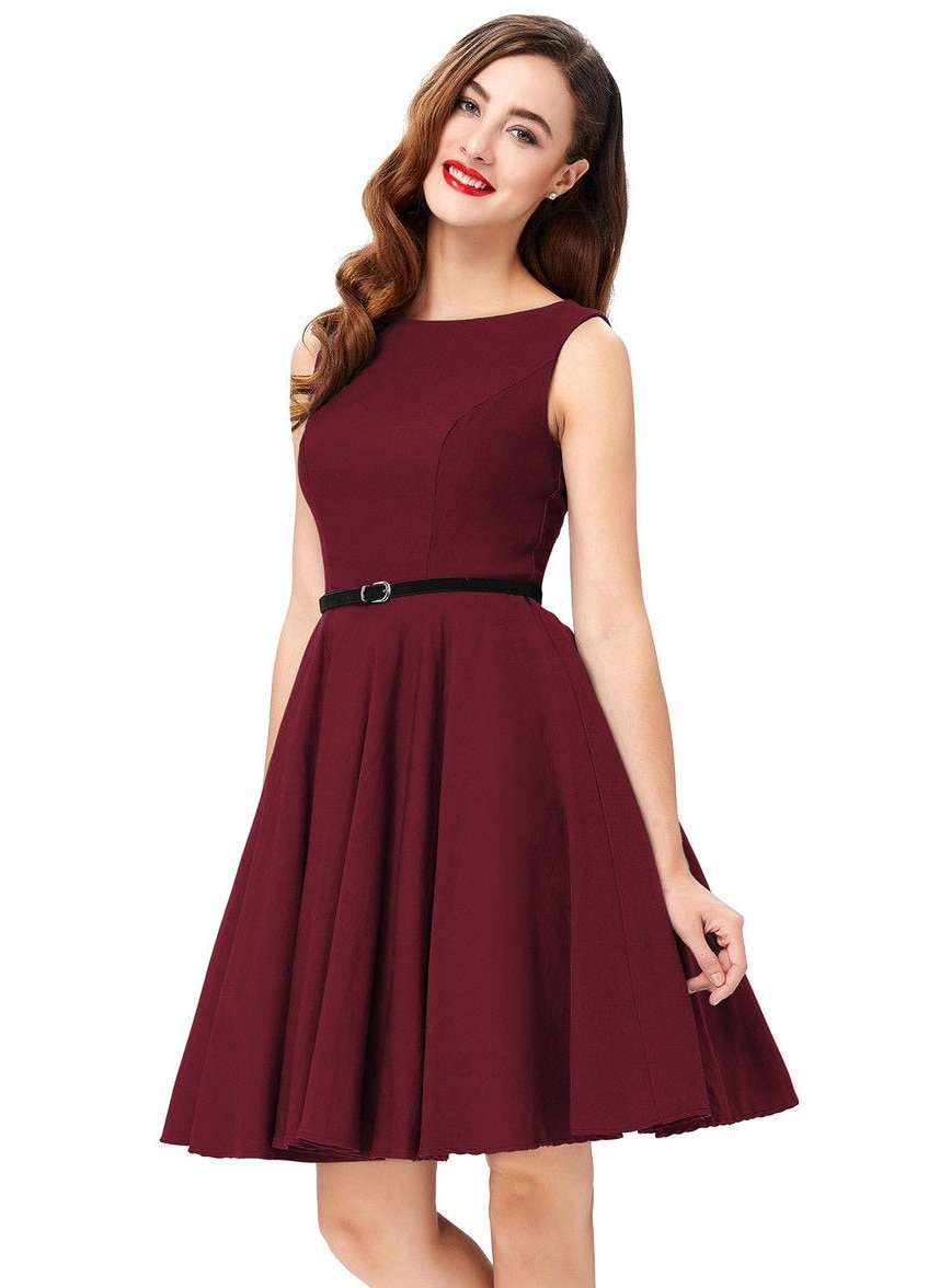 The Classic Audrey Burgundy 50s Dress