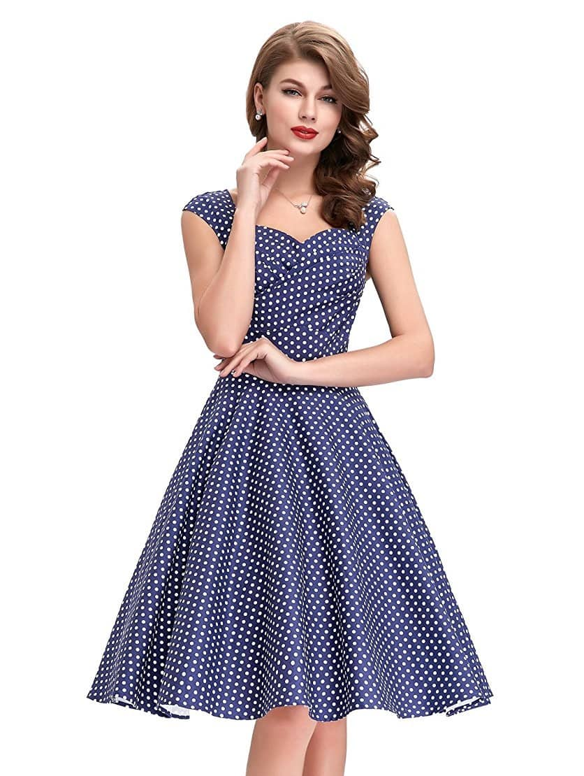 d5c49966c3a9 Tiffany Navy Blue Polka Dot Dress
