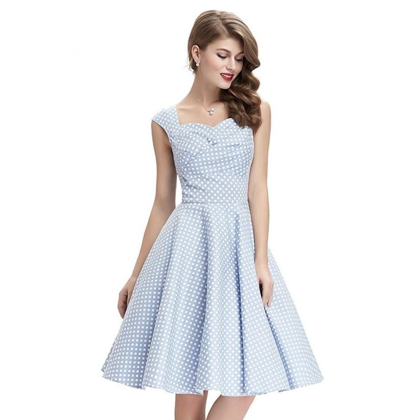 Tiffany dusty blue polka dot dress