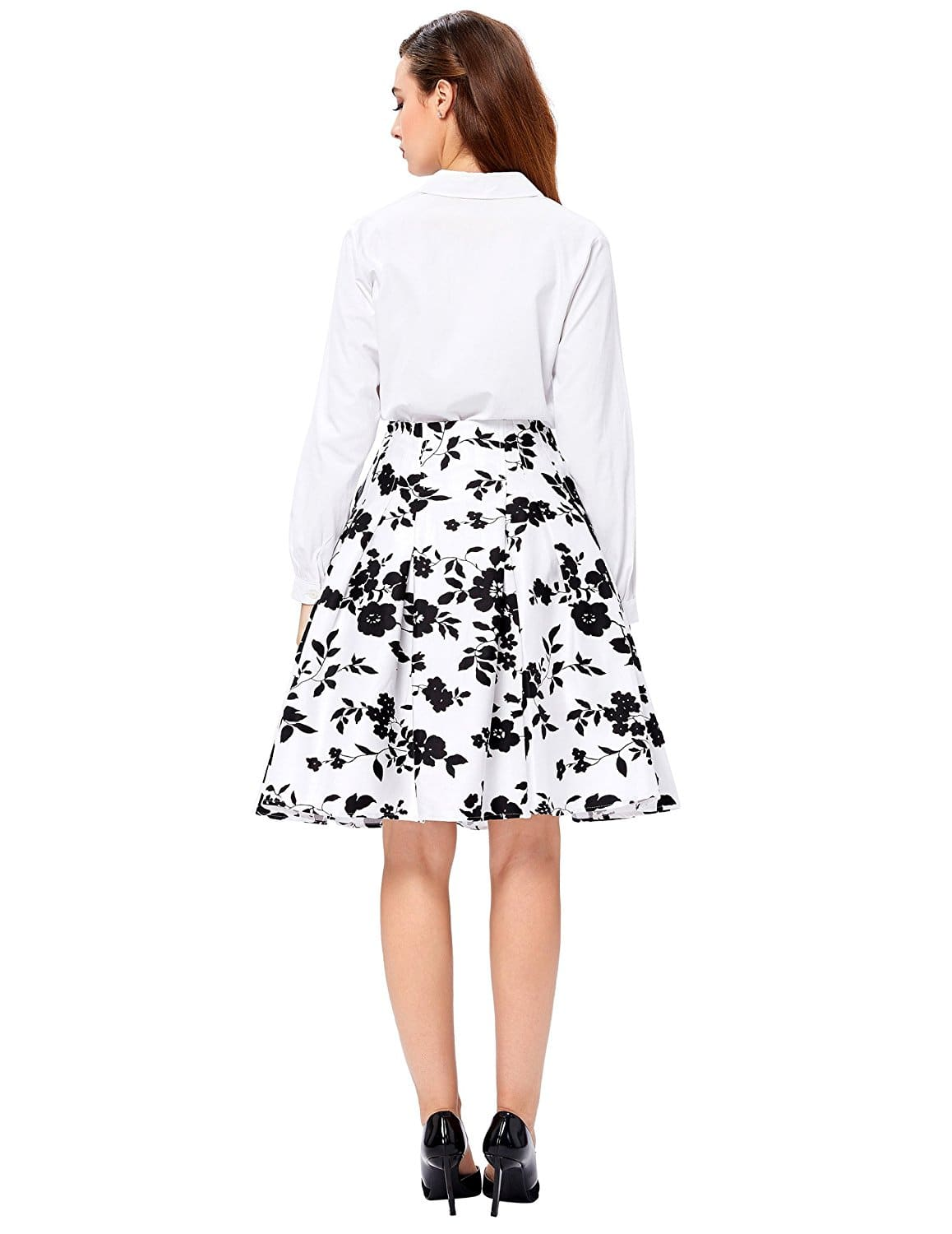 Black And White Vintage Floral Pleated Skirt