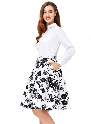 black-and-white-vintage-floral-pleated-skirt