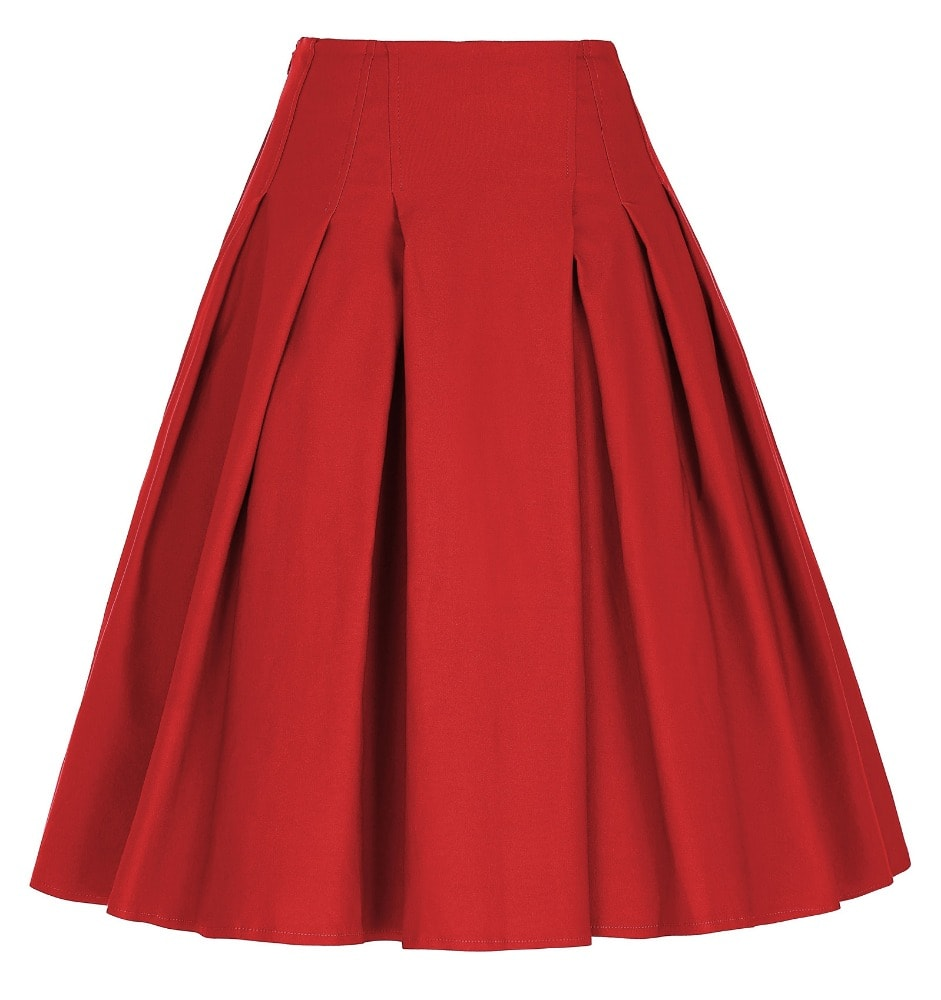 Pretty In Pleats Red Retro Skirt Vintage Clothing Online