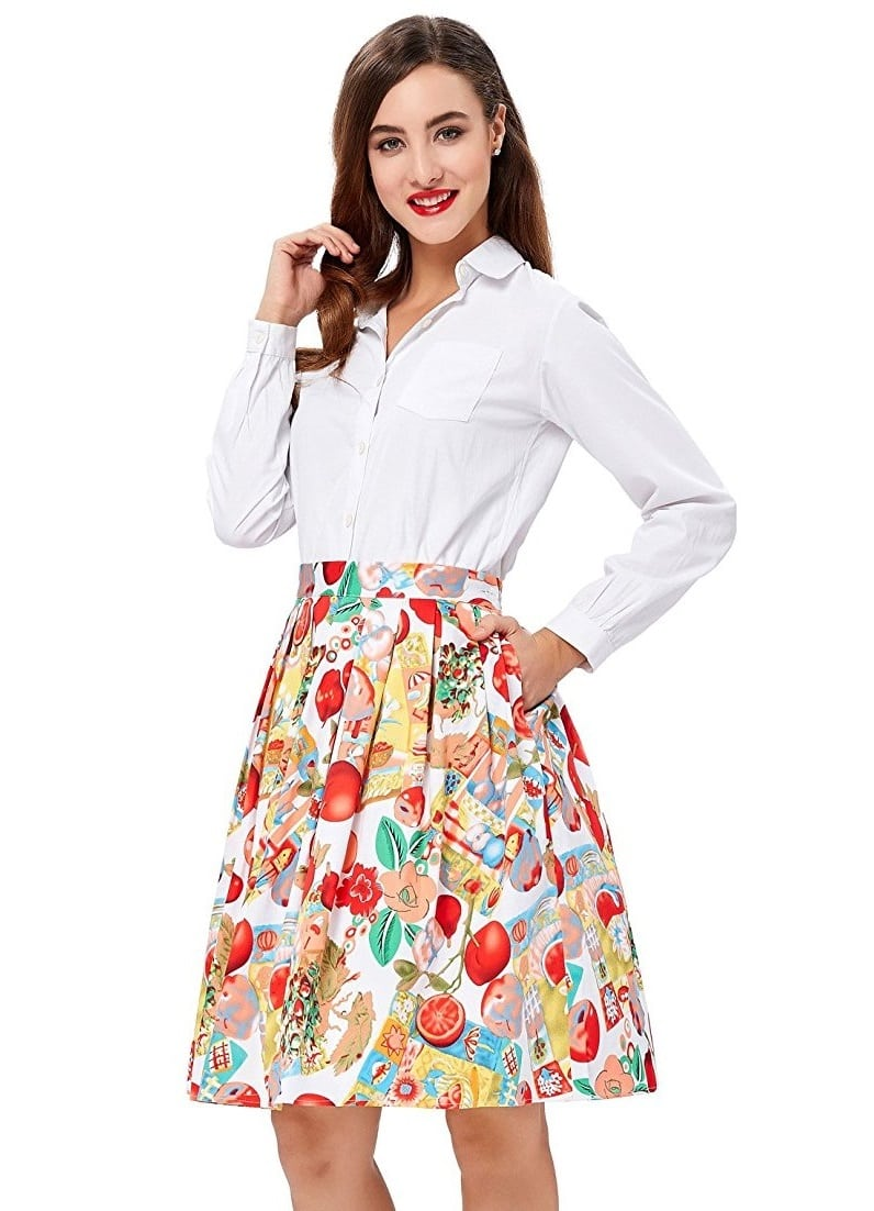 Vintage Fruity Floral Swing Skirt Vintage Clothing