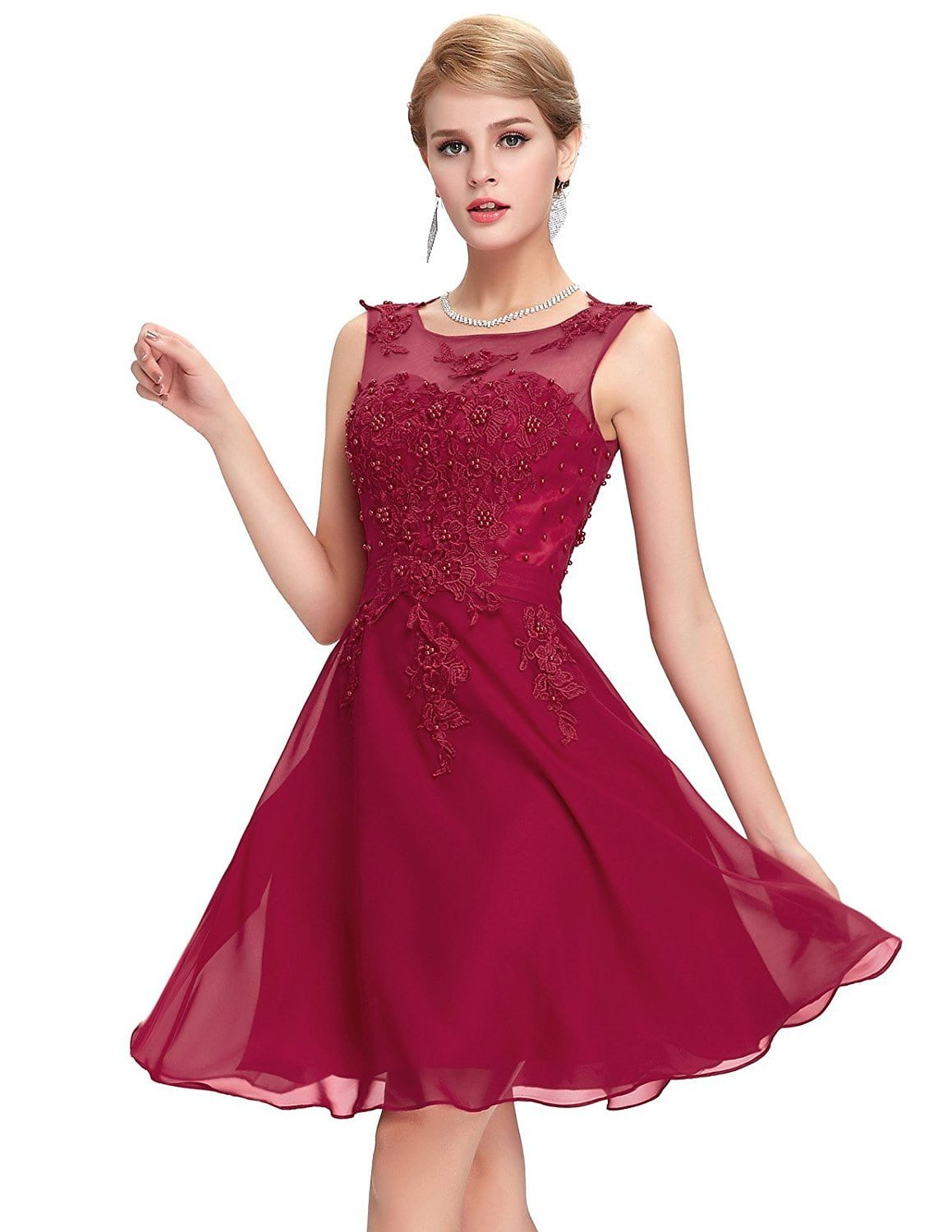 e851e37a1 Wine Red Beaded Vintage Dress