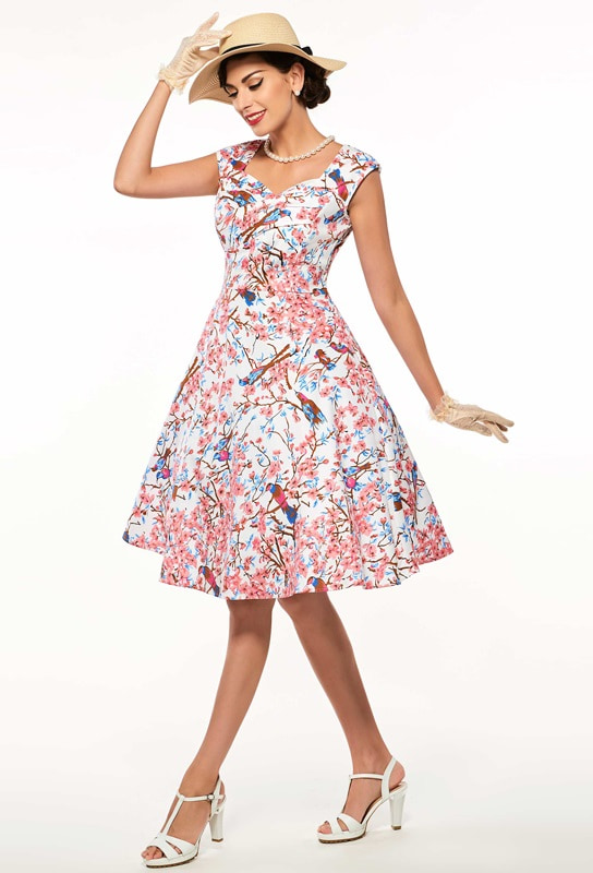 Cherry Blossoms 50s Tea Dress Vintage Clothing Online