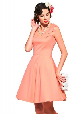 coral-lovely-retro-dress