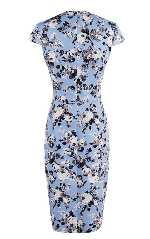 Sammy Blue Floral 50s Pencil Dress Vintage Clothing