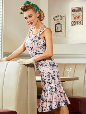 serena-pink-floral-50s-mermaid-dress
