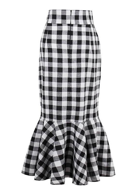 black-and-white-gingham-50s-mermaid-skirt-back