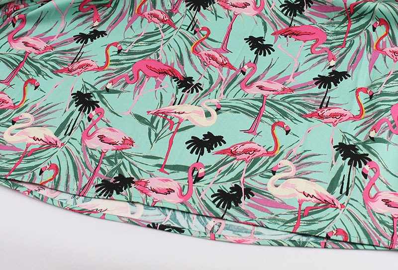 pink-flamingo-print-pleated-50s-skirt