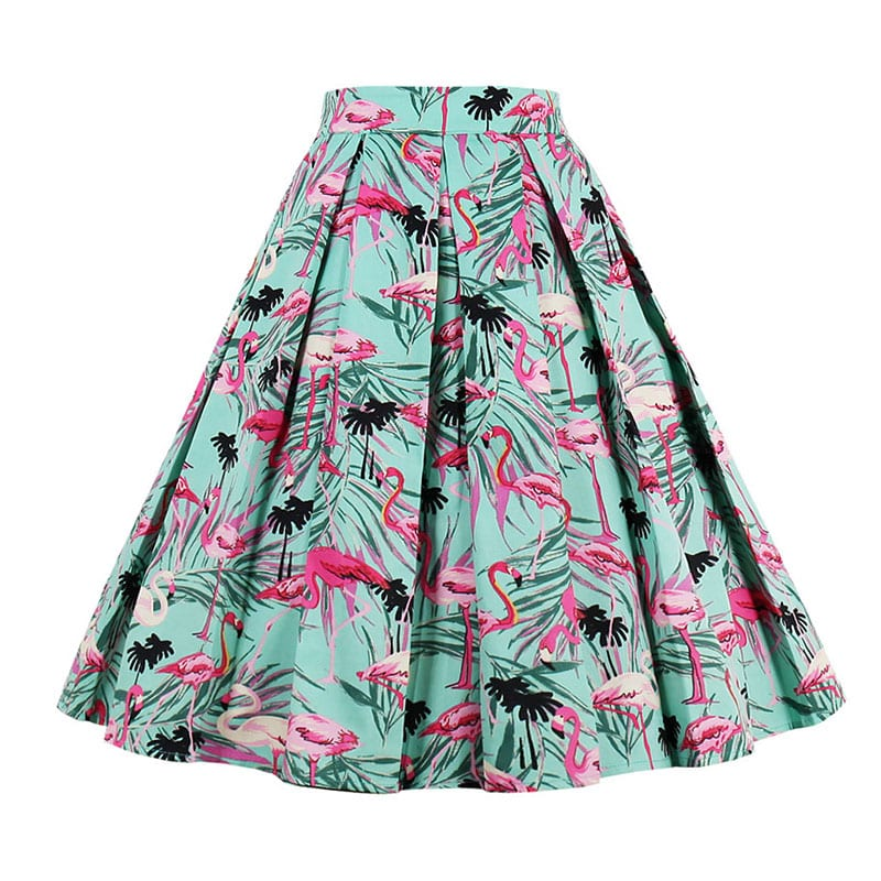 pink-flamingo-print-pleated-50s-skirt-back