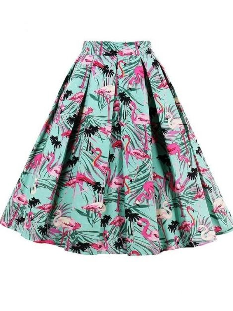 Pink flamingo print pleated 50s skirt