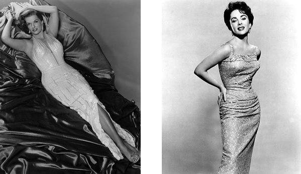 jane-russell-and-elizabeth-taylor-in-pencil-dresses