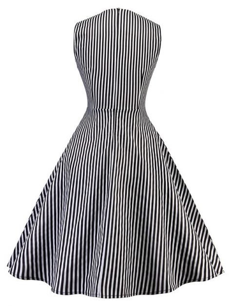 louise-black-and-white-striped-swing-dress-back