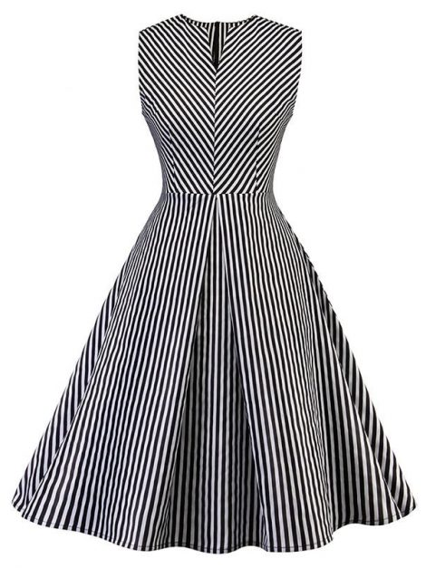 louise-black-and-white-striped-swing-dress