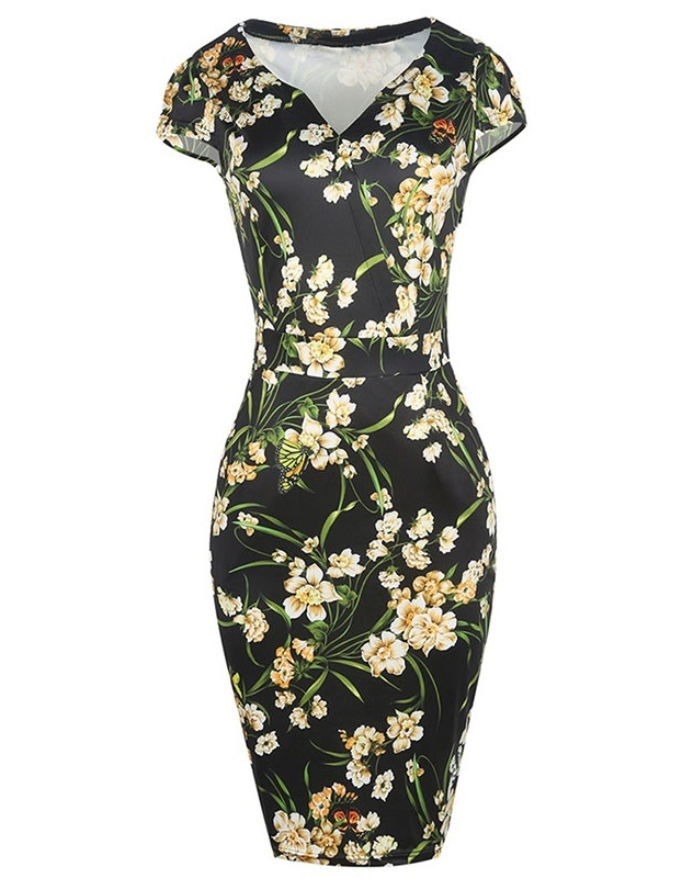Black floral 50s style pencil dress