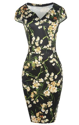 black-floral-50s-style-pencil-dress