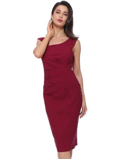 Burgundy retro pencil dress