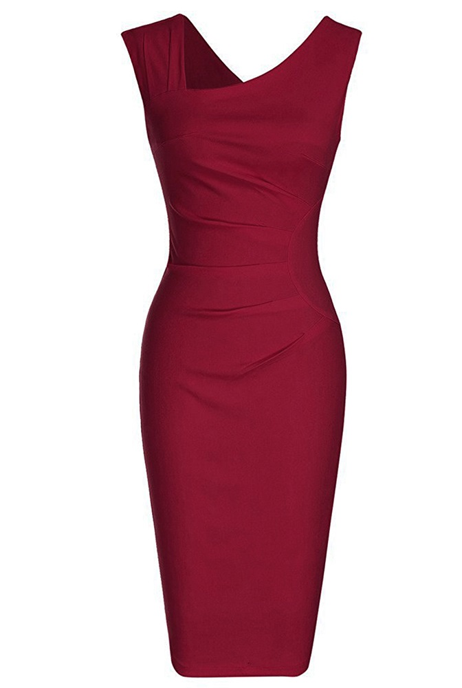 burgundy-retro-pencil-dress