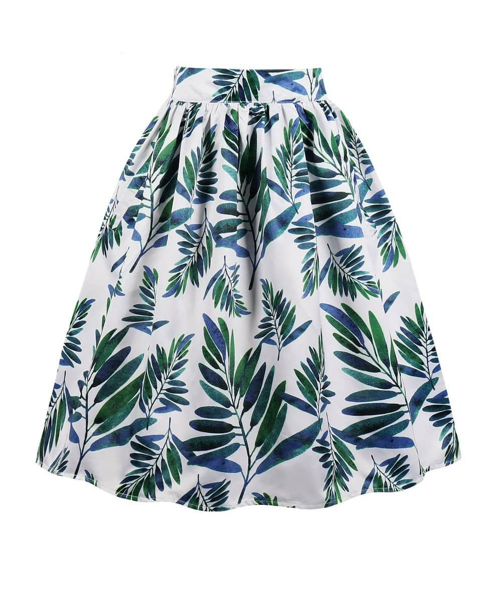 Fern Blue And Green Floral 50s Skirt