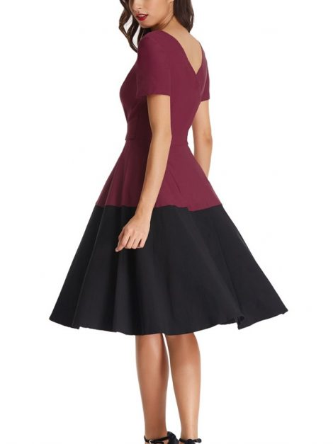 fifi-burgundy-and-black-block-retro-dress