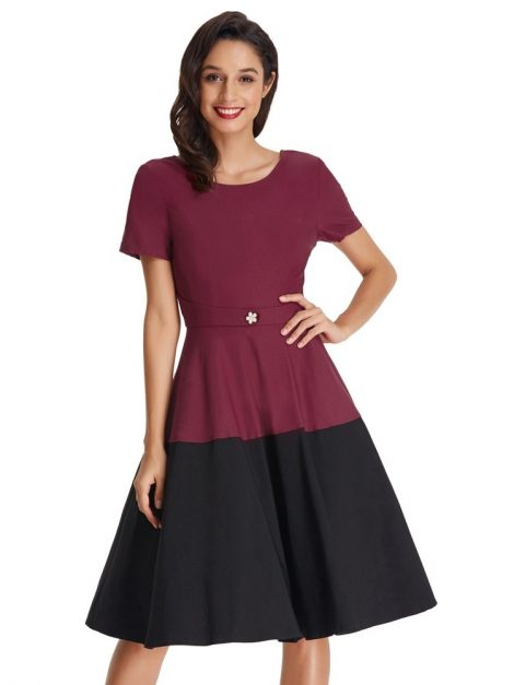 Fifi burgundy and black block retro dress