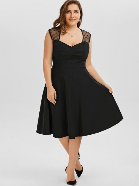Katie plus size black retro dress