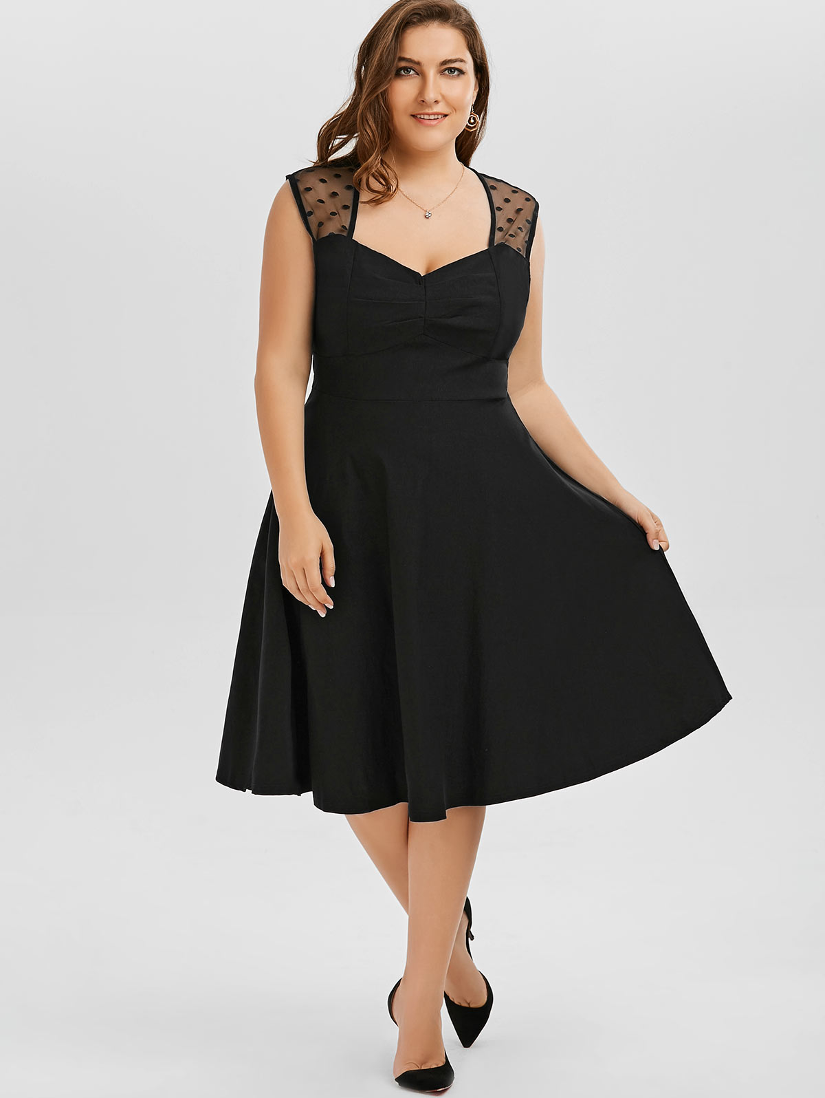Katie Plus Size Black Retro Dress | Vintage Clothing Online - 1950s Glam