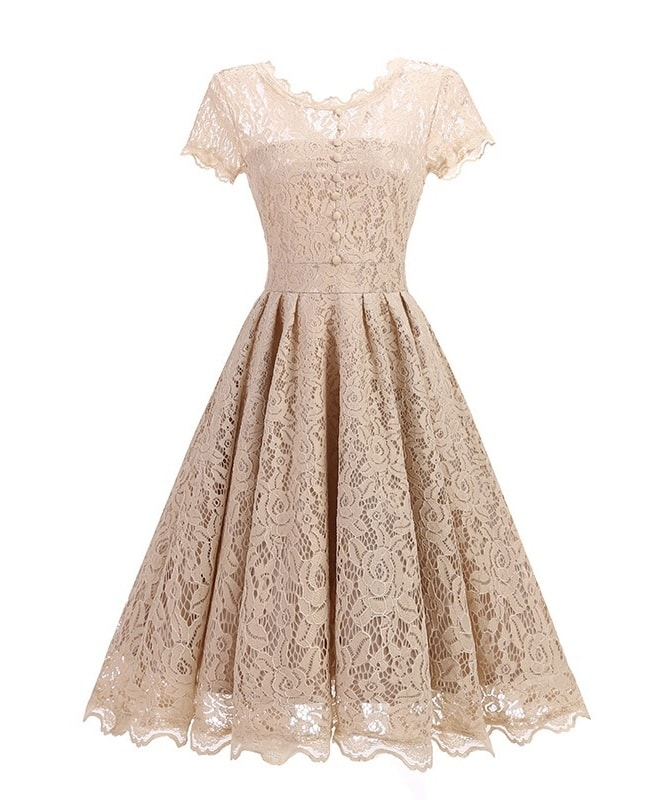 Margot champagne lace vintage dress
