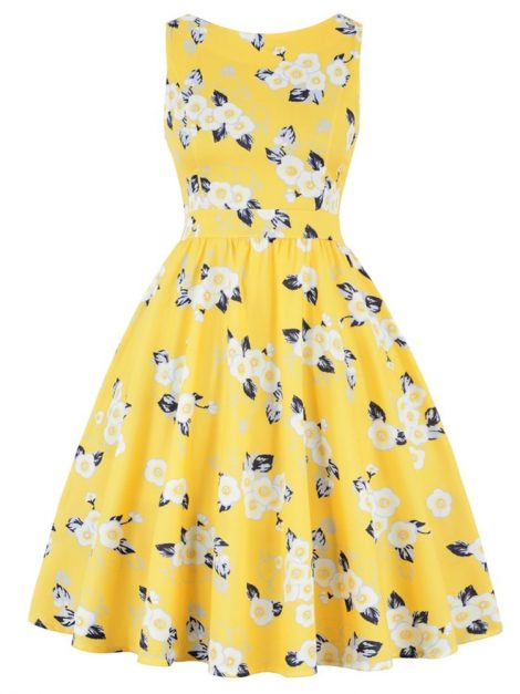 mellow-yellow-floral-50s-dress